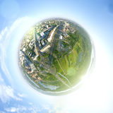 Aerial city view - little planet mode Stock Photography
