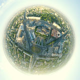 Aerial city view - little planet mode Royalty Free Stock Image