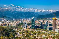 Aerial city view of Santiago of Chile. Aerial view of chile`s capital with Manquehue in the background on a clear day in Santiago of Chile stock photos