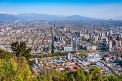Aerial city view of Santiago of Chile. Aerial view of chile`s capital with Manquehue in the background on a clear day in Santiago of Chile royalty free stock photography