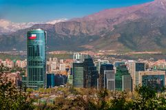 Aerial city view of Santiago of Chile. Aerial view of chile`s capital with Manquehue in the background on a clear day in Santiago of Chile royalty free stock photo