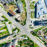 Aerial city view. Urban landscape. Copter shot. Panoramic image. Stock Photography
