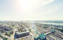 Aerial city view. Urban landscape. Copter shot. Panoramic image. Royalty Free Stock Images