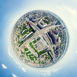 Aerial city view. Urban landscape. Copter shot. Panoramic image. Royalty Free Stock Photography