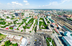 Aerial city view. Urban landscape. Copter shot. Panoramic image. Stock Images