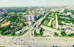 Aerial city view. Urban landscape. Copter shot. Panoramic image. Stock Photos