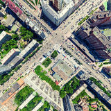 Aerial city view. Urban landscape. Copter shot. Panoramic image. Royalty Free Stock Image