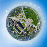 Aerial city view. Urban landscape. Copter shot. Panoramic image. Royalty Free Stock Photos
