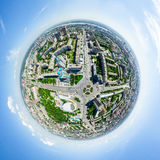 Aerial city view. Urban landscape. Copter shot. Panoramic image. Stock Image
