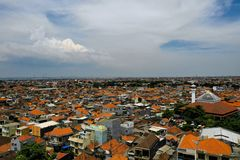 Surabaya capital city east java, indonesia. Aerial cityscape densely built asian city. urban environment in asia. modern city Surabaya with buildings and houses stock photography