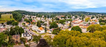 Aerial cityscape of Dover, New Jersey stock photos