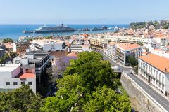 Aerial cityscape of Funchal, capital city of Madeira Island Royalty Free Stock Image