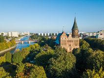 Aerial cityscape of Kant Island in Kaliningrad, Russia Royalty Free Stock Photography