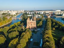 Aerial cityscape of Kant Island in Kaliningrad, Russia Stock Photos