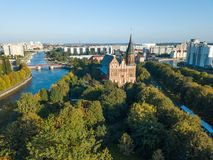 Aerial cityscape of Kant Island in Kaliningrad, Russia Royalty Free Stock Photo
