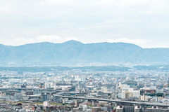 Aerial cityscape of Kyoto city in Japan Stock Photo