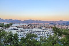 Aerial cityscape of Marmaris with pine trees. Turkey Royalty Free Stock Photo