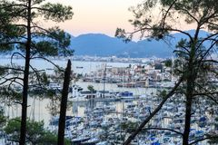 Aerial cityscape of Marmaris with pine trees. Turkey Stock Image