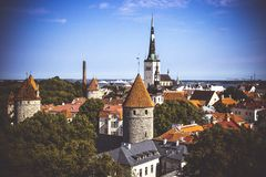 Aerial cityscape with Medieval Old Town and St. Olaf Baptist Church in Tallinn stock photos