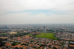 Surabaya capital city east java, indonesia. Aerial cityscape modern city Surabaya with skyscrapers, buildings and houses. city skyline with skyscrapers and royalty free stock images