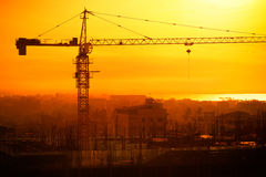 Aerial cityscape panorama view of building construction near the harbor at sunrise. Yangon, Myanmar  Stock Photos