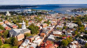 Aerial Panoramic View Annapolis Maryland State House Capital City royalty free stock image