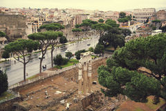Aerial cityscape of Rome with Forums and Colosseum, Rome Stock Images