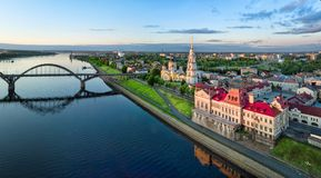 Aerial cityscape of Rybinsk on sunrise Royalty Free Stock Photography