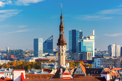 Aerial cityscape of Tallinn, Estonia Royalty Free Stock Images