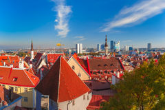 Aerial cityscape of Tallinn, Estonia Stock Images