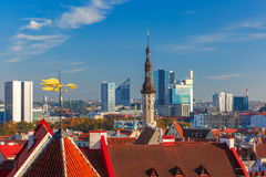 Aerial cityscape of Tallinn, Estonia Royalty Free Stock Photo