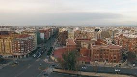 Aerial cityscape of Valencia in winter, Spain stock video