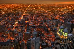 Chicago top view cityscape at dusk. Aerial cityscape view of Chicago from John Hancock Center at dusk with twilight sky, IL, USA Royalty Free Stock Photo