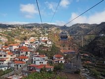 aerial cityscape view of the city of funchal from the cable car running up the mountain to monte stock photography