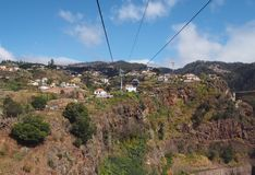 aerial cityscape view of the city of funchal from the cable car running up the mountain to monte royalty free stock photos