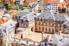 Strasbourg city in France. Aerial cityscape view on the old town with courtyard of Rohan palace in Strasbourg city in France Stock Photos