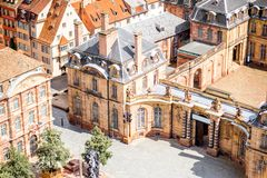 Strasbourg city in France. Aerial cityscape view on the old town with courtyard of Rohan palace in Strasbourg city in France Stock Image
