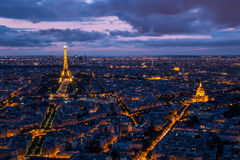 Aerial cityscape view of Paris at sunset. Stunning view of the city of Paris stock photography
