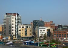 an aerial cityscape view of the quarry hill creative quarter area of leeds with the bbc headquarters and northern ballet building stock images