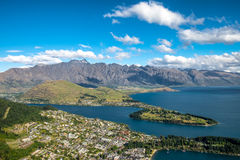 Aerial Cityscape View of Queenstown, New Zealand. Stock Images