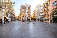 Valencia city in Spain. Aerial cityscape view from Serranos towers on the old town of Valencia city in Spain Stock Photography