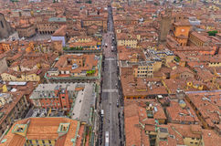 Aerial cityscape view from two towers, Bologna, Italy Stock Image