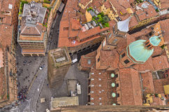 Aerial cityscape view from two towers, Bologna, Italy Stock Photos