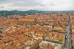Aerial cityscape view from two towers, Bologna, Italy Royalty Free Stock Image