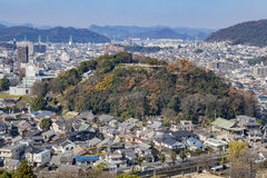 Aerial cityscape from the white Heron castle - Himeji Royalty Free Stock Photo