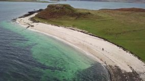 Aerial of the Clagain Coral Beach on the Isle of Skye - Scotland.  stock footage