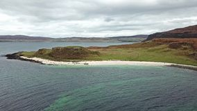 Aerial of the Clagain Coral Beach on the Isle of Skye - Scotland.  stock video