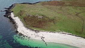 Aerial of the Clagain Coral Beach on the Isle of Skye - Scotland.  stock video footage