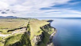 Aerial of the cliffs at Lealt Falls - Isle of Skye - Scotland. United Kingdom Stock Photos
