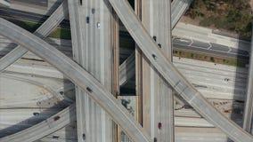 AERIAL: Close Flight over Judge Pregerson Huge Interchange Connection showing multiple Roads, Bridges, Highway with